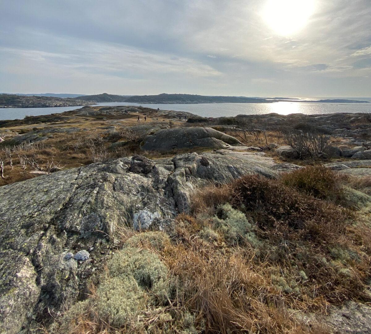 Foto på utsikt över hav, männickor och fastlandet.