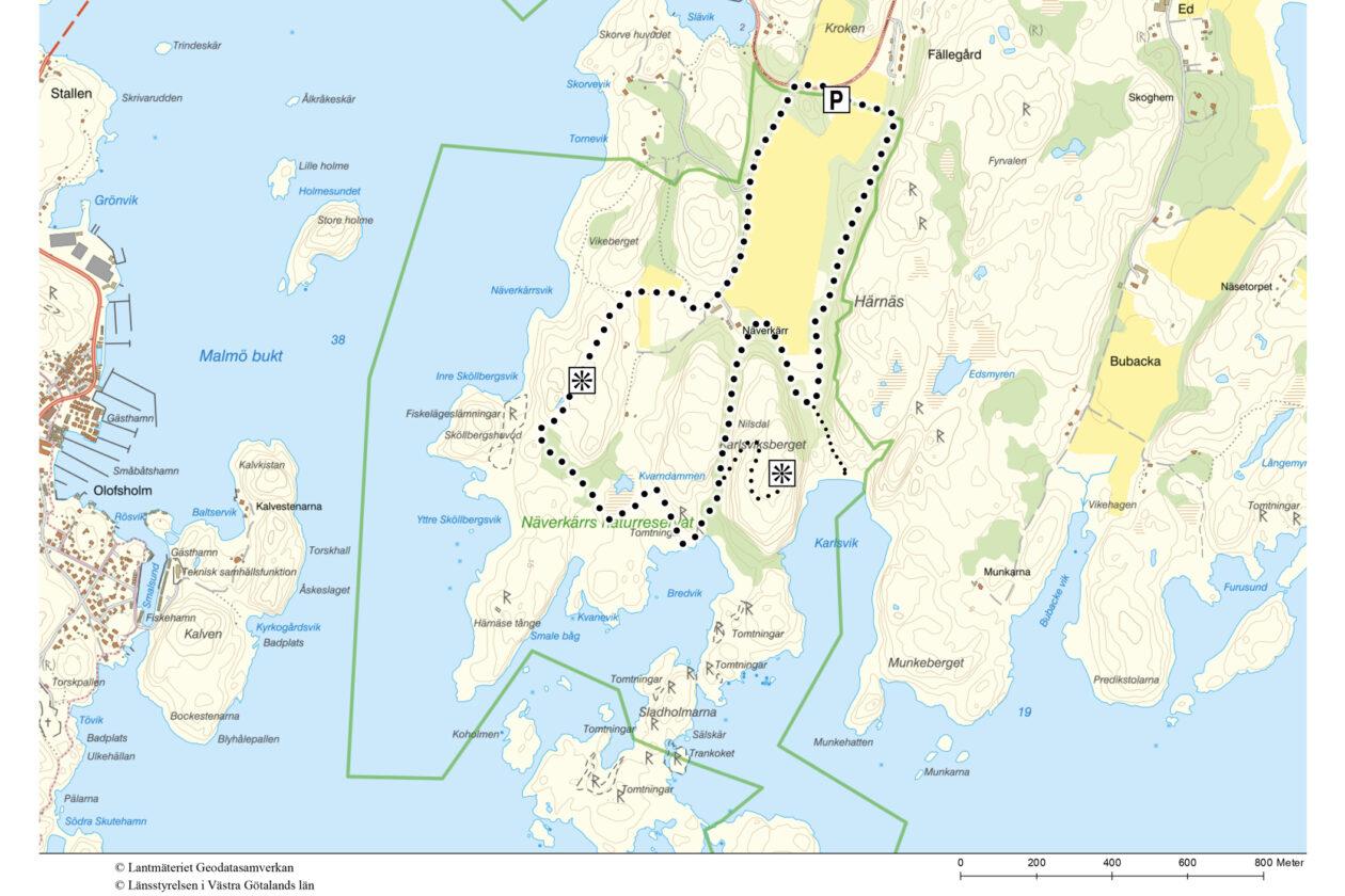 Vandringsförslag i naturreservatet Näverkärr. Karta.