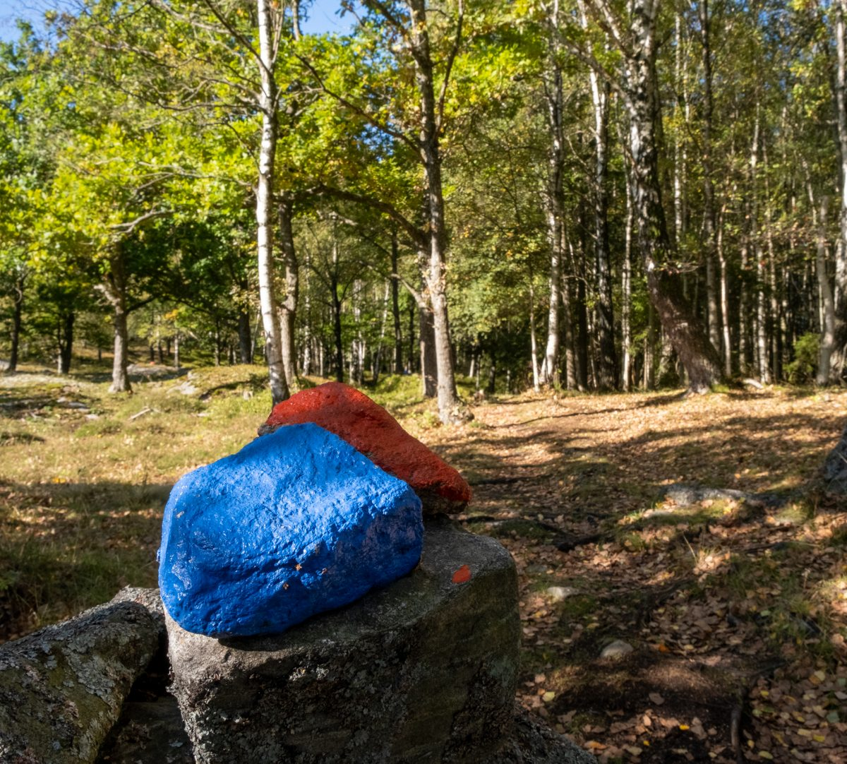 Stigmarkering bestående av två stenar, som är helt målade i röd respektive blå färg. Foto.