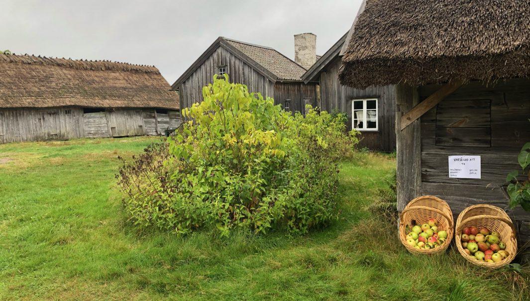 Två korgar står lutade mot en av de gamla byggnaderna i byn. En lapp är uppsatt ovanför. Foto.